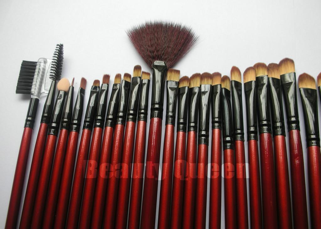 Escovas profissionais da composição bolsa Cosmetic Set alta qualidade CABRA cabelo vermelho Bag Couro NOVO