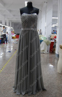 Wholesale Orange Pink Pagent Dress - Gray Color Red Carpet Pagent Celebrity Dress A Line Beaded Ruched Chiffon Gown Real Actual Images