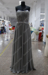 Wholesale Red Pagent Dresses - Gray Color Red Carpet Pagent Celebrity Dress A Line Beaded Ruched Chiffon Gown Real Actual Images