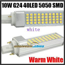 tube light e27 NZ - 10pcs lot G24 G23 E27 10W 40 SMD 5050 LED Light Lamp Tube Flat light Warm white or White 85-265V