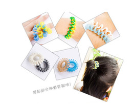 Wholesale Telephone Wire Hair Rubber Bands - HOT elastic hair bands telephone wire hair ties 100pcs lot Free shipping via China post