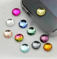 ingrosso pulsanti di scintilla-Autoadesivo libero del bottone della casa di cristallo bling scintillante misto 100pcs della nave per il regalo di iPhone 3G 3GS 4 4S di iPad