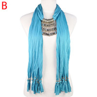 Wholesale Scarf Fashion Beaded Necklaces - Women jewelry 2015 New Pendants crystal tassel Jewelry scarf Beaded scarfs Necklace 10color,Handmade shawl NL-1893