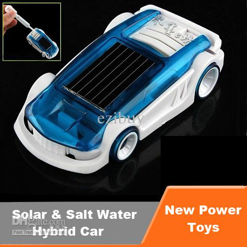 free shipping solar salt water hybrid car diy toy green energy solar powered mini toy car with retail package creative toy for kids