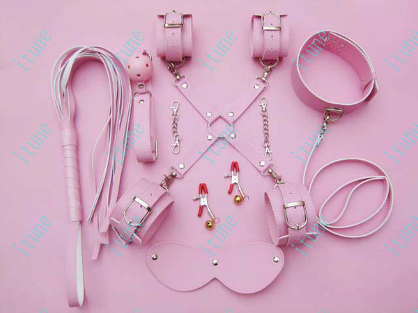 pink color handcuff nipple clip Whip eyeshade ball gag collar 8-in-1 bondage set sm game adult toy