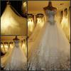 2013 Real picture Sweetheart Beading Lots of Handcirft Chapel Train Wedding Dress Ball Gown