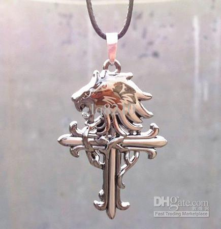 Neue Vintage Lederschnur Titanium Edelstahl Löwenkopf Kreuz Anhänger Halskette Männer Mode Weihnachtsgeschenke 10 stücke