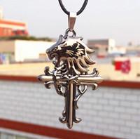 Wholesale Lion Head Necklace Wholesale - New Vintage Leather Cord Titanium Stainless Steel lion head Cross Pendant Necklace Men Fashion xmas gifts 10pcs