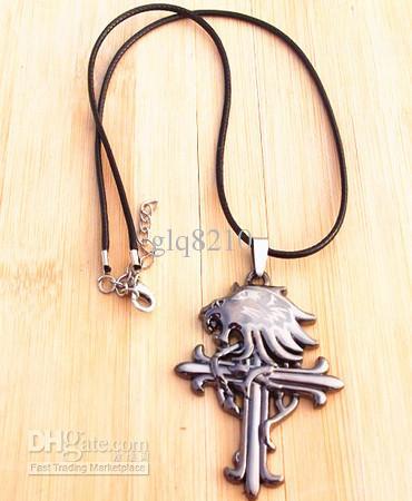 Новый старинный кожаный шнур титана из нержавеющей стали лев головной крест кулон ожерелье мужчины мода рождественские подарки 10 шт.