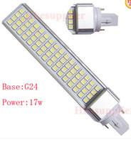 Wholesale E27 17w - Sample High Power G24 G23 E27 64LED 5050 17W Flat light Lighting LED Light Lamp Tube 85-265V