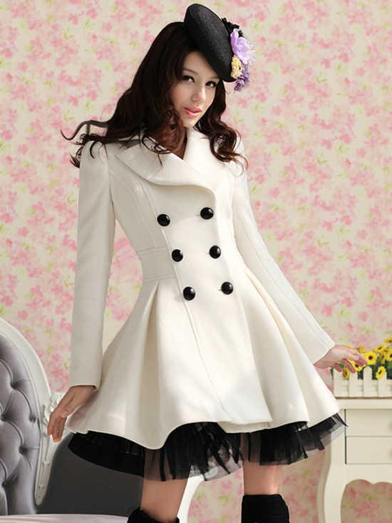 2017 Womens Coat Dress Parka Slim Fit Peacoat White Color Outwear ...