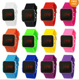 Plastic Glass Light Up Canada - 350 pcs lot LED Mirror Watch,Colorful Plastic Face Silicone Watch,Soft Bands Red Light many colors