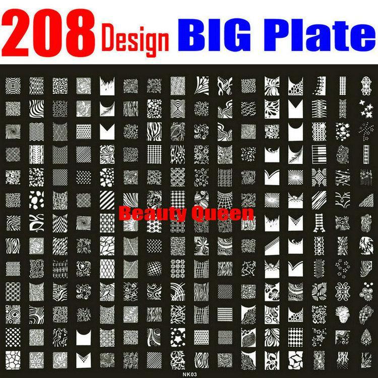 208 Designs Grosse Stempelplatte Nail Art Franzosisch Voll XXL Stempel Bild Vorlage Drucken Schablone NK03
