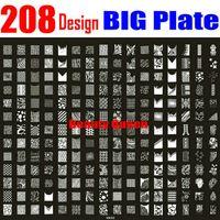 xxl damgası toptan satış-208 Tasarımlar BÜYÜK Damgalama Plaka Nail Art Fransız Tam XXL Damga Görüntü Şablon Baskı Stencil # NK03