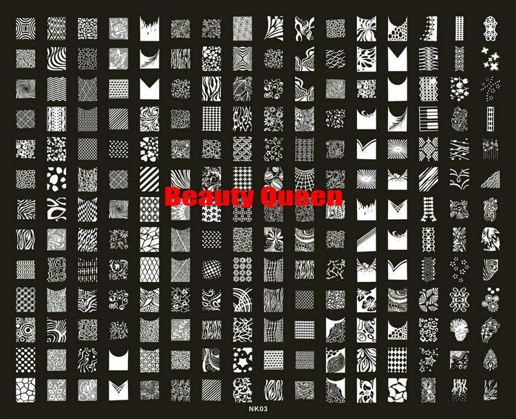 208 Designs LARGE Stamping Plate Nail Art French & Full XXL Stamp Image Template Print Stencil #NK03