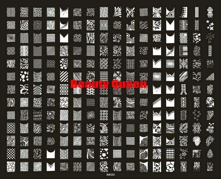 Neueste 208 Designs XXL BIG Stamping Platte Französisch Full Nail Art Bild Platte Schablone Metall Vorlage N3