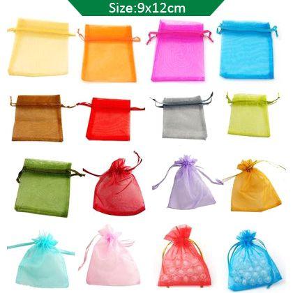 1000 stks Organza Gift Bag Bruiloft Gunst Party 9x12 cm Mix kleurtassen