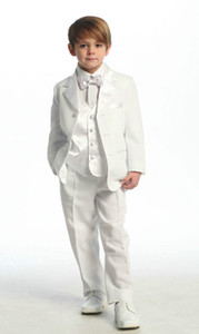 Wholesale boy formal white suit resale online - 2018 Top Sale White Or Ivory Colour Four Pieces Jacket pants Bows Waistcoat Customer Made Boys Tuxedos Boy s Formal Wear Cheap