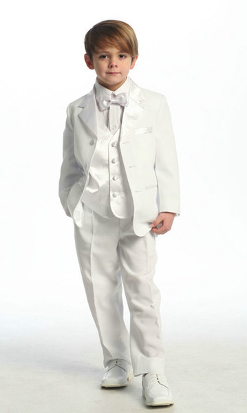 2018 Top Sale White Or Ivory Colour Four Pieces ( Jacket +pants+Bows+Waistcoat) Customer Made Boys' Tuxedos Boy's Formal Wear Cheap