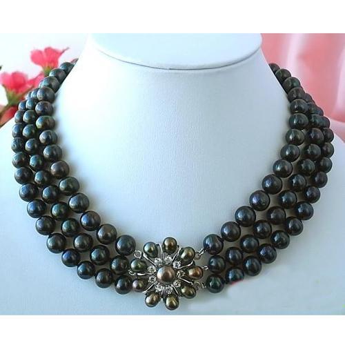 Nouveau Arriver 3Rond AA9-10MM Noir Perle D'eau Douce Collier Fleur Fermoir De Mode Perle Bijoux