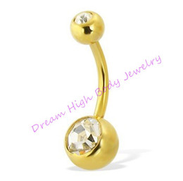 Wholesale Gold Belly Bar Navel Ring - Newest Gold Belly Bar Navel Ring Double Stone Diamond Clean Fashion Body Piercing Jewelry Titanium