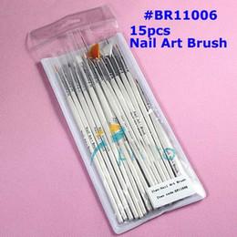 Wholesale Nail Art Gel Paint - [AE028]15pcs Nail Art Design Brushes Gel Set Painting Draw Pen Polish White Handle wholesales