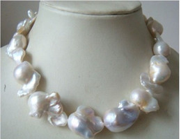 New 22mm véritable baroque naturelle australienne mer sud blanc perle collier 18inch