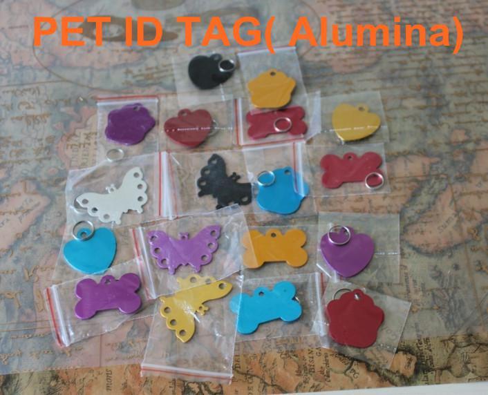 Grand os / coeur / rond / papillon étiquette d'identification d'animal familier a gravé le chat pour chat personnalisé alumine cinq col