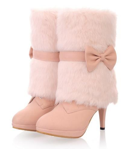 2012 Snow Boots Fur Boots Pink Bridesmaid Shoes Wedding Shoes To ...