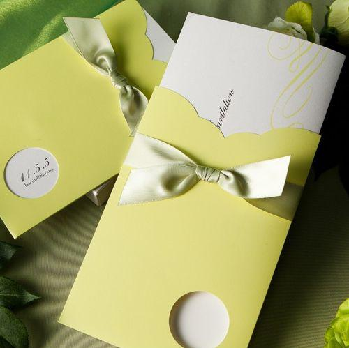 High Quality Spring Green Round Cutout Wedding Invitations Bridal