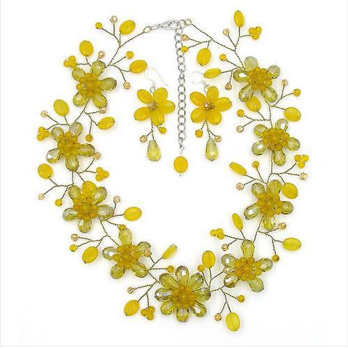 새로운 도착 놀라운 노란색 오닉스 크리스탈 비즈 꽃 목걸이 귀걸이 쥬얼리 세트 16 ''파티 쥬얼리