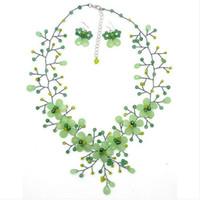 boncuk takı setleri toptan satış-Yeni Gelmesi İnanılmaz Yeşil Aventurin Yeşim Kristal Boncuk Çiçek Kolye Küpe Takı Seti 19 inç