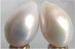 Wholesale White South Sea Pearl Earrings - a pair of Australian south sea 8-9mm white pearl loose half drilled earring