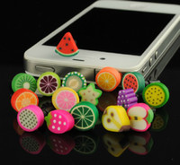 Wholesale Iphone Cute Plug - Free Ship 100pcs Cute 3D Fruit Earphone Anti Dust Plug Dustproof Ear Cap for Apple iPhone 4 4S Gift