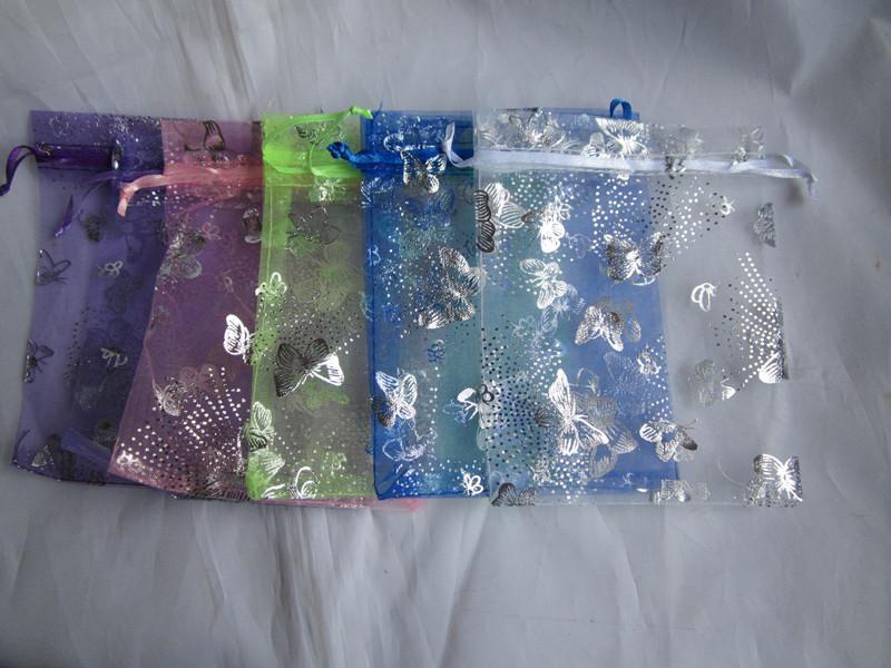 Hotsell Silver Butterfly Organza Bolsa Bolsa de regalo de boda Joyería de Navidad Bolsa de embalaje Colores mixtos Envío gratis