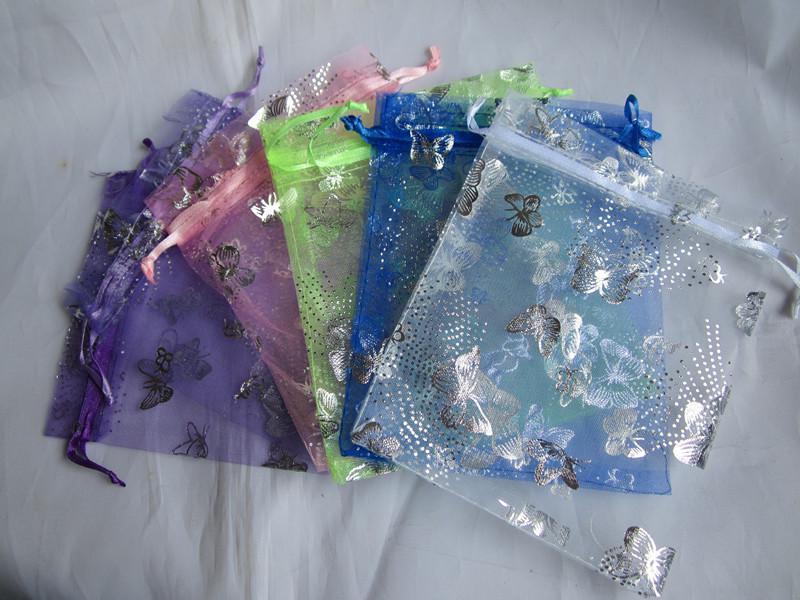 hotsell 실버 나비 Organza 가방 결혼식 선물 가방 크리스마스 쥬얼리 포장 가방 혼합 된 색상 무료 배송