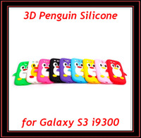 Wholesale Cartoon Galaxy S Cases - Cartoon 3D Penguin Soft Silicone Rubber Back Cover Case Skin for Samsung Galaxy S3 SIII S III I9300