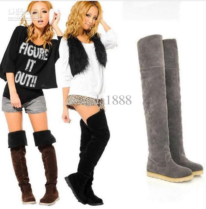 2016 Hot Items Women'S Shoes Over The Knee Boots Suede Flat Heel ...