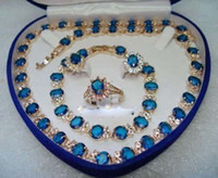 Wholesale Gold Necklaces 18kt - Blue Stone Sapphire 18KT Yellow Set Crystal Necklace Bracelet Earrings Ring Jewelry set