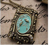 Wholesale Enamel Box Chain Necklace - Free Shipping!! Love Bird Vintage Box Necklace Retro Enamel Necklace