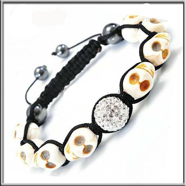 30 pçs / lote novo 8 PCS crânio contas de turquesa + PCS argila cristal pulseira