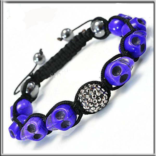 30pcs / lot nouveau 8PCS crâne turquoise perles +1 PCS argile cristal perles bracelet