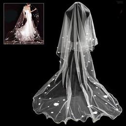 Wholesale Mantilla Cathedral Length Veil - New In stock Wedding Bridal Veills White Wedding cathedral long Bridal Mantilla Veil for Bride Custom made