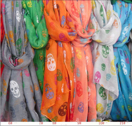 Wholesale Colorful Skull Scarf - DHL Free Cheap Women Fashion Women`s Colorful Cotton Scarf Skull Scarves Shawl big size 180x110cm mix Colors