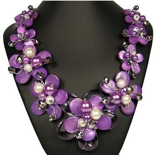 Neu kommen lila grau weiß Shell Quarz Blume Opulente Halskette Damen handgemachten Schmuck