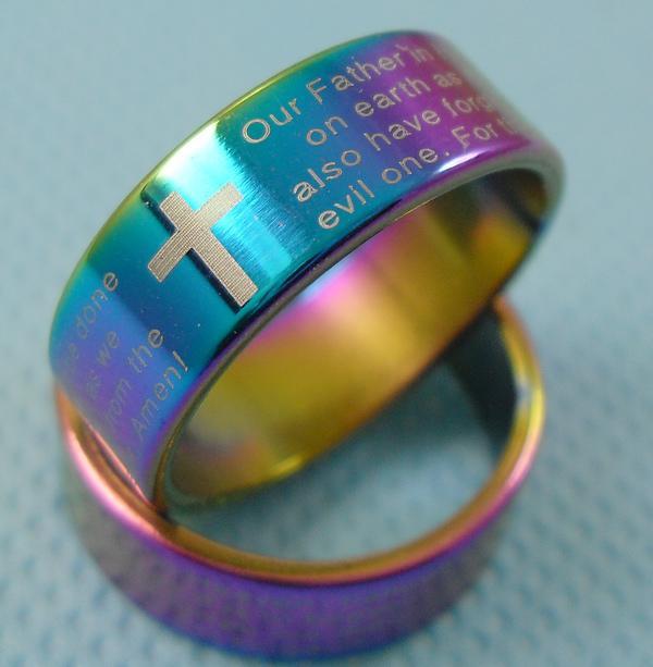 25 stks Engelse Lord's Prayer Cross Rings Mens Rainbow Rvs Sieraden Kavels Gratis verzending