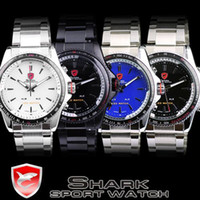 Wholesale Shark Sport Watch Black - SHARK LED Quartz Wrist Watch Mens Analog Digital Date Dual Army Sport Display Watches SH001-SH004