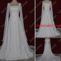 Wholesale Square Neckline - 2017 Greek Long Sleeves Wedding Dresses Square Neckline And Detachable Train Real Actual Images Bridal Gowns DB82