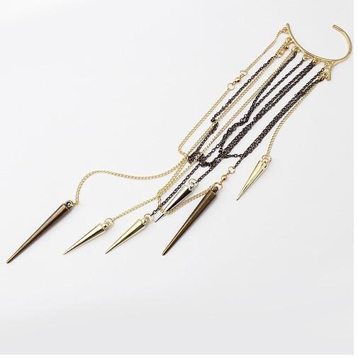 Extra Long Tassels Cone Earrings Punk Style Without Pierced Ears Häng