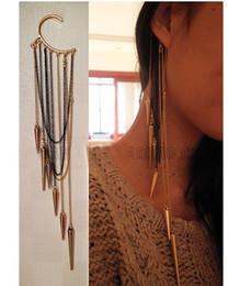 Wholesale Ear Cuffs Tassel - Extra-long Tassels Cone Earrings Punk Style Without Pierced Ears Hang